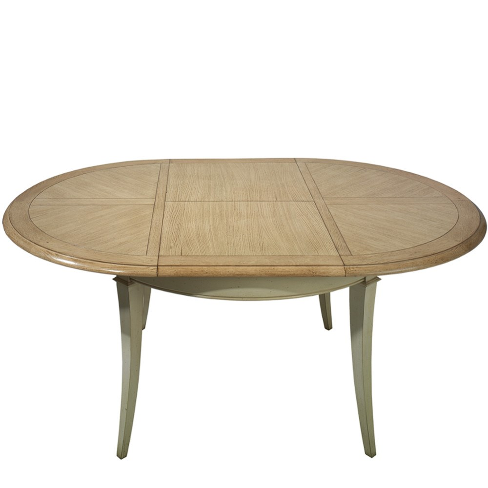 Mesa vintage comedor redonda extensible silhouette en for Mesas de salon redondas