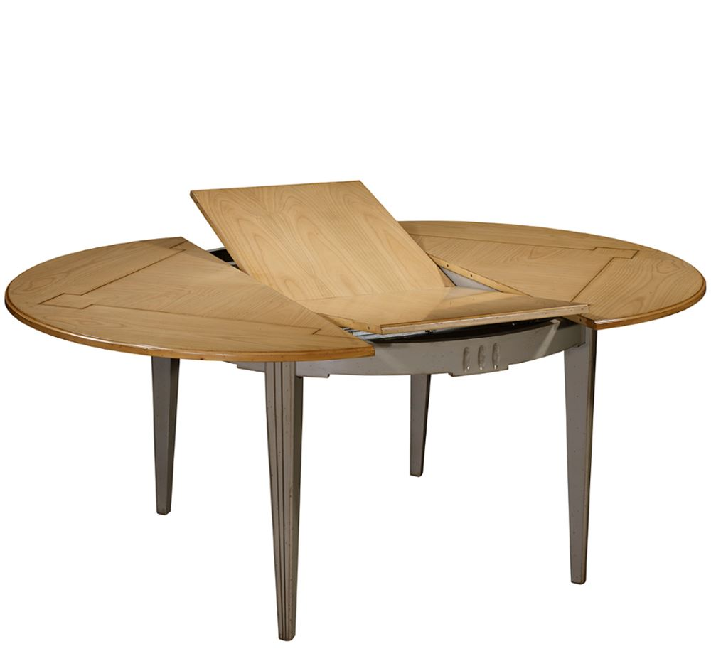 Mesa vintage redonda extensible ontario en betty co for Mesa comedor redonda extensible madera